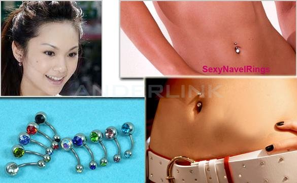 10x Gorgeous Crystal Belly Ring Navel Bar Body Jewelry