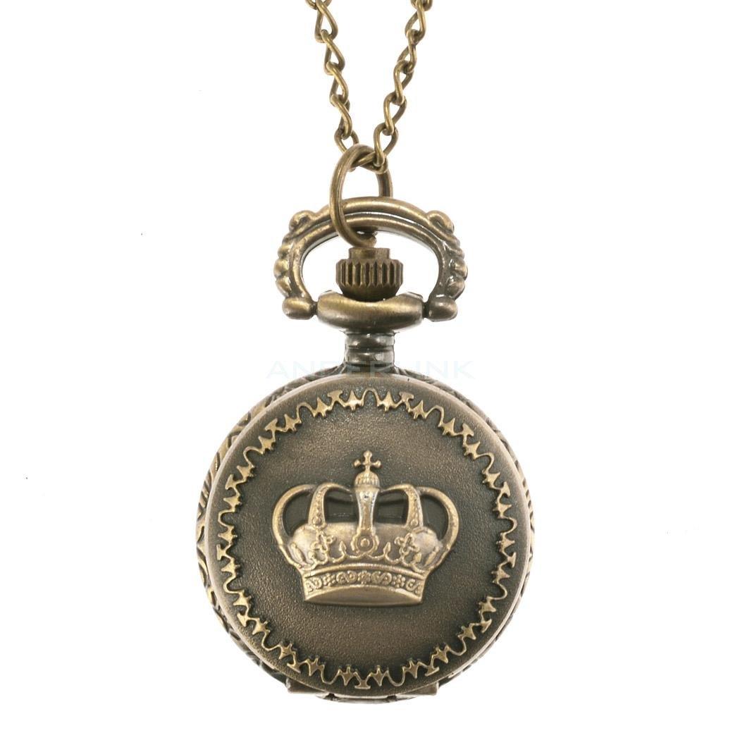 New Fashion Bronze Steampunk Quartz Necklace Pendant Chain Clock Pocket Watch